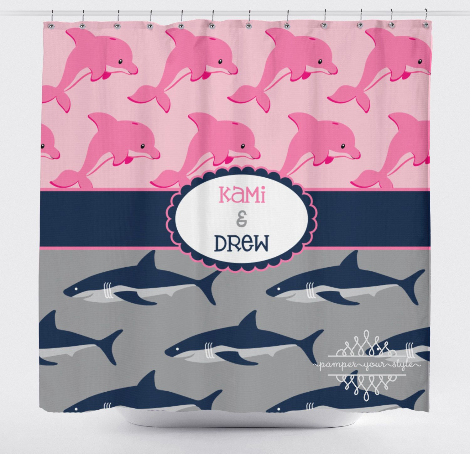Shower curtains for girls - Dolphin And Shark Shower Curtain Personalized Sibling Shower Curtain Boy And Girl Shower Curtain Jack And Jill Shower Curtain