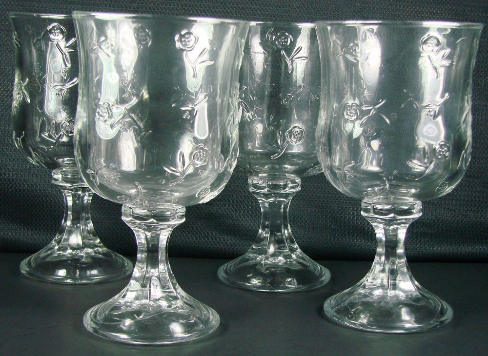 set of 4 anchor hocking 4 savannah flower stemware water goblets glasses 7 - Water Goblets