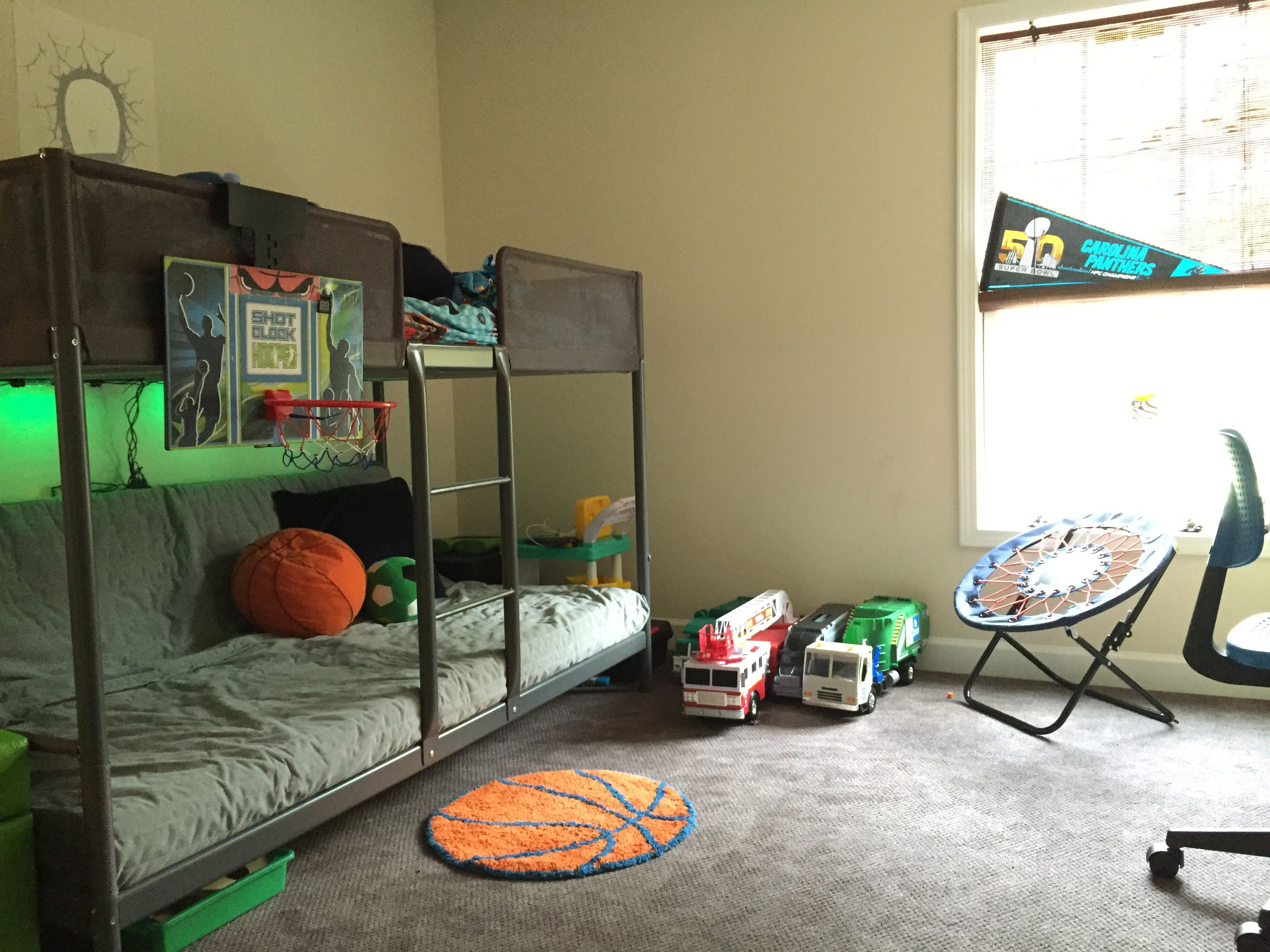 Tuffing loft bed ideas  Ikea Tuffing Bunk Bed with regular full size mattress folded up the