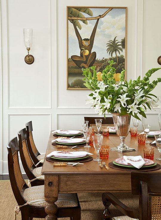 An Old Harvest Table In The Dining Area Is Surrounded By Teak And Cane Chairs Traditional Home Photo Tria Giovan Design Ken Gemes