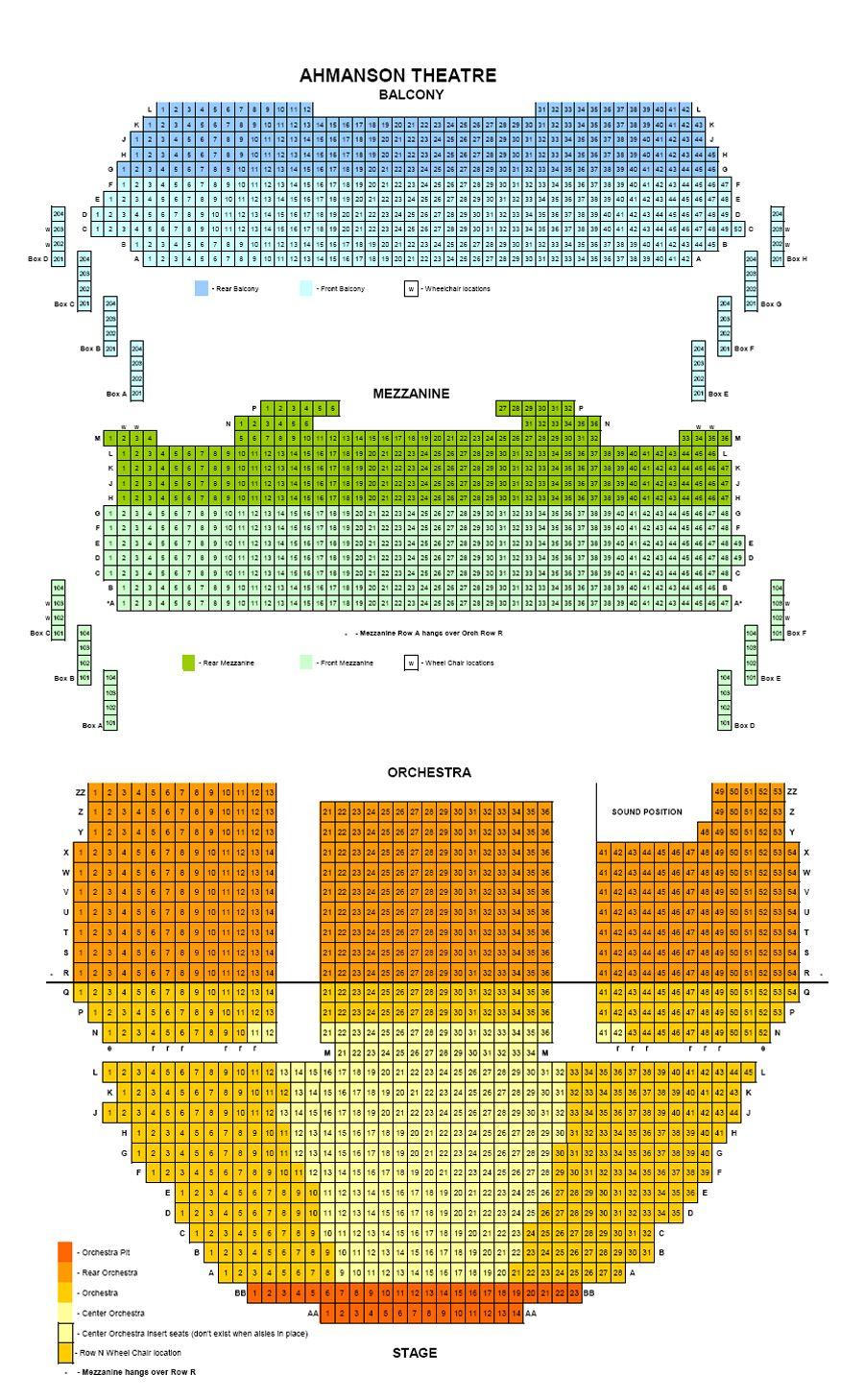 Ahmanson Theatre Seating Chart Seating Charts Seating Chart Template Auditorium Seating