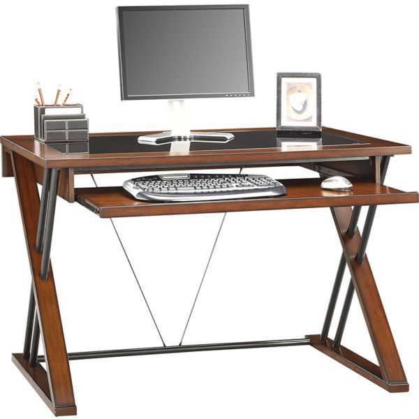 Whalen Astoria Computer Desk Brown Cherry Staples Stuff Desk