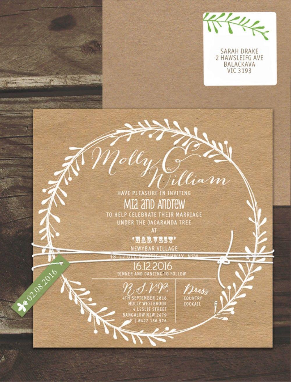 Rustic Leaf Wreath White Ink On Kraft Invitation Online Australia ...