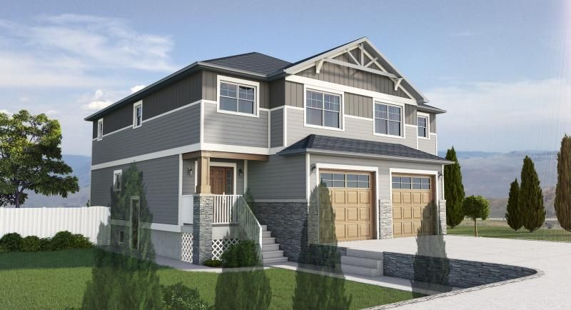 Plan no 195259 side by side craftsman style duplex with for No basement house plans