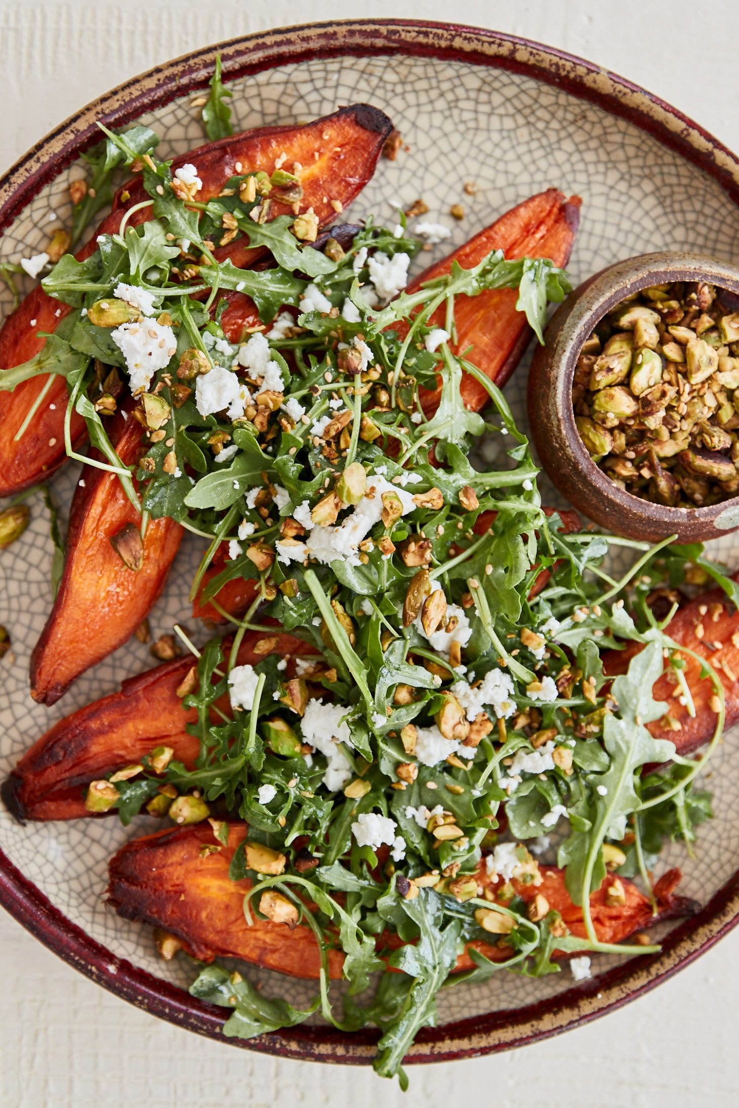 Sweet Potatoes With Sesame Pistachios And Miso Citrus Dressing Naturally Recipe Yummy Sweet Potatoes Raw Food Recipes Dinner Salads