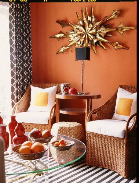 Pretty Wall Color May Not Have The Guts To Paint A Wall This Color Small Bedroom Decor Dining Room Walls Orange Walls