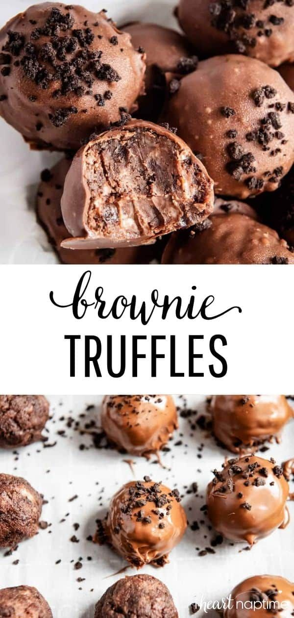 Brownie Truffles - An easy sweet treat made with just 3 simple ingredients. These delicious brownie balls are perfectly fudgy and full of rich chocolate flavor. #brownies #browniesrecipe #browniebites #truffles #chocolate #chocolaterecipes #candy #candyrecipes #easyrecipe #easydessert #desserts #dessertrecipes #recipes #iheartnaptime