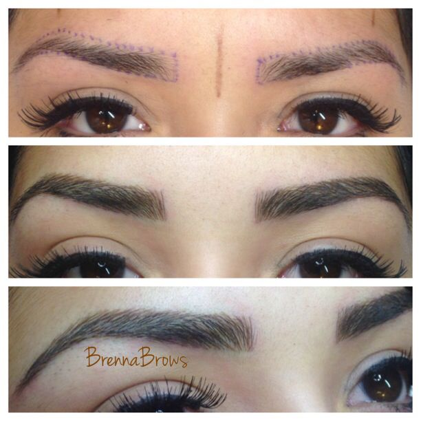 Hair stroke tattoo eyebrows. They look so real. @BrennaBrows ...