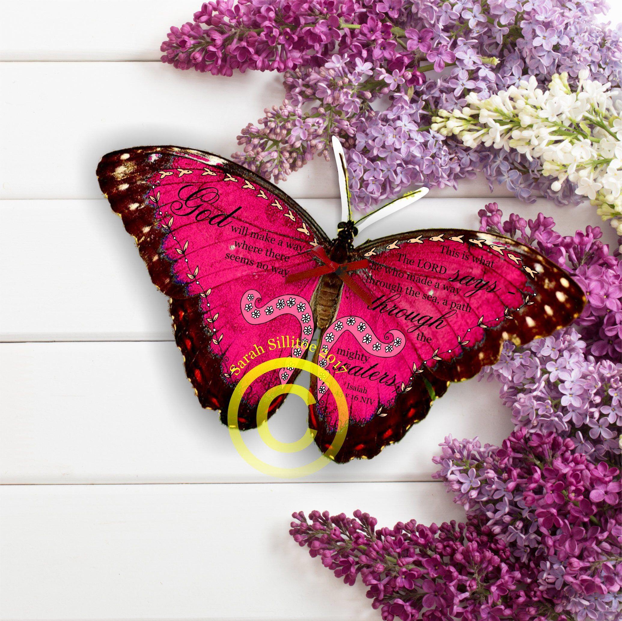 Christian gift handmade bible verse 3d butterfly isaiah