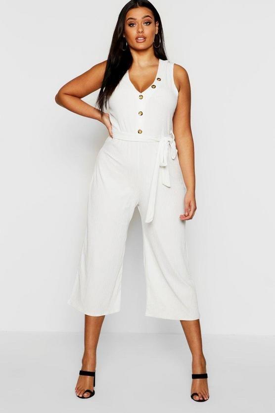 d1754805f29 Plus Ribbed Button Culotte jumpsuit | BULLET | Jumpsuit, Buttons, Boohoo