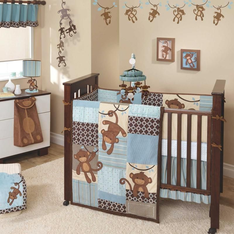 Unique Blue And Brown Suede Monkeys Baby Boy Nursery 5pc Crib