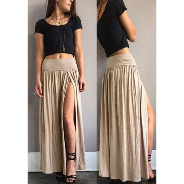 Nude Side Slit Maxi Skirt (38 AUD) ❤ liked on Polyvore featuring skirts, long skirts, brown skirt, side slit skirt, long brown skirt and floor length skirt