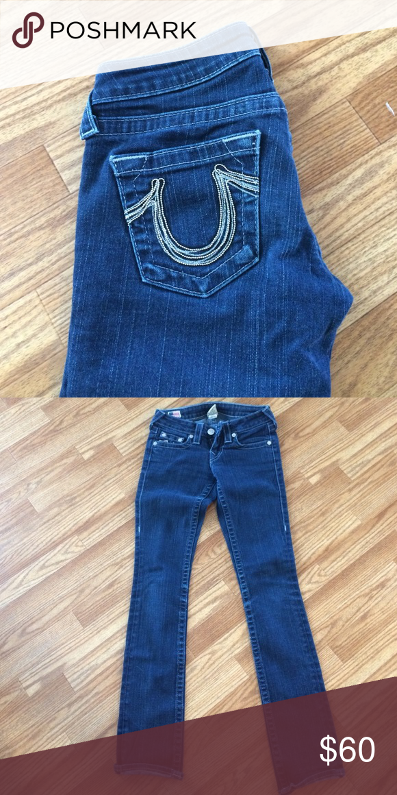 ae3423b68 True Religion Brand jeans Straight leg with embellished horseshoe on back  pockets True Religion Jeans Straight