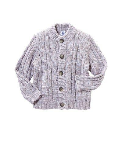 Gros pull garçon à torsades en mouliné laine et coton