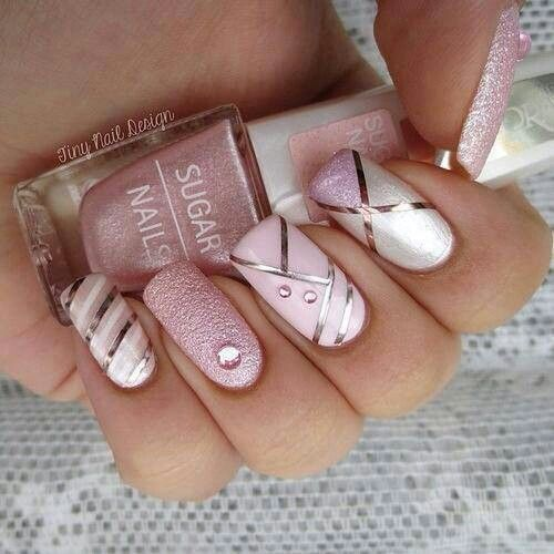 The nail on the ring finger looks odd but the overall nail look is pink and silver nail designs prinsesfo Image collections