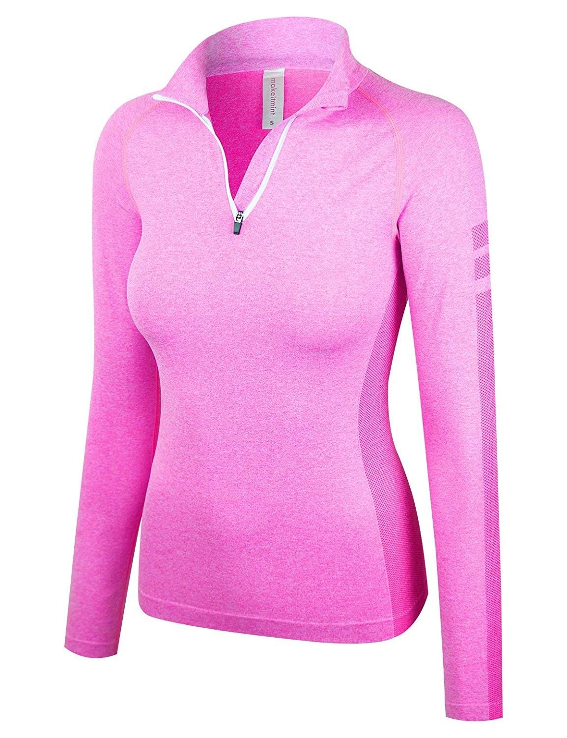 Women's Comfy Zip Up Pull Over Active Stretchy Work Out Track Top - [Yil0014]pink - CM180UN9CKQ - Sp...