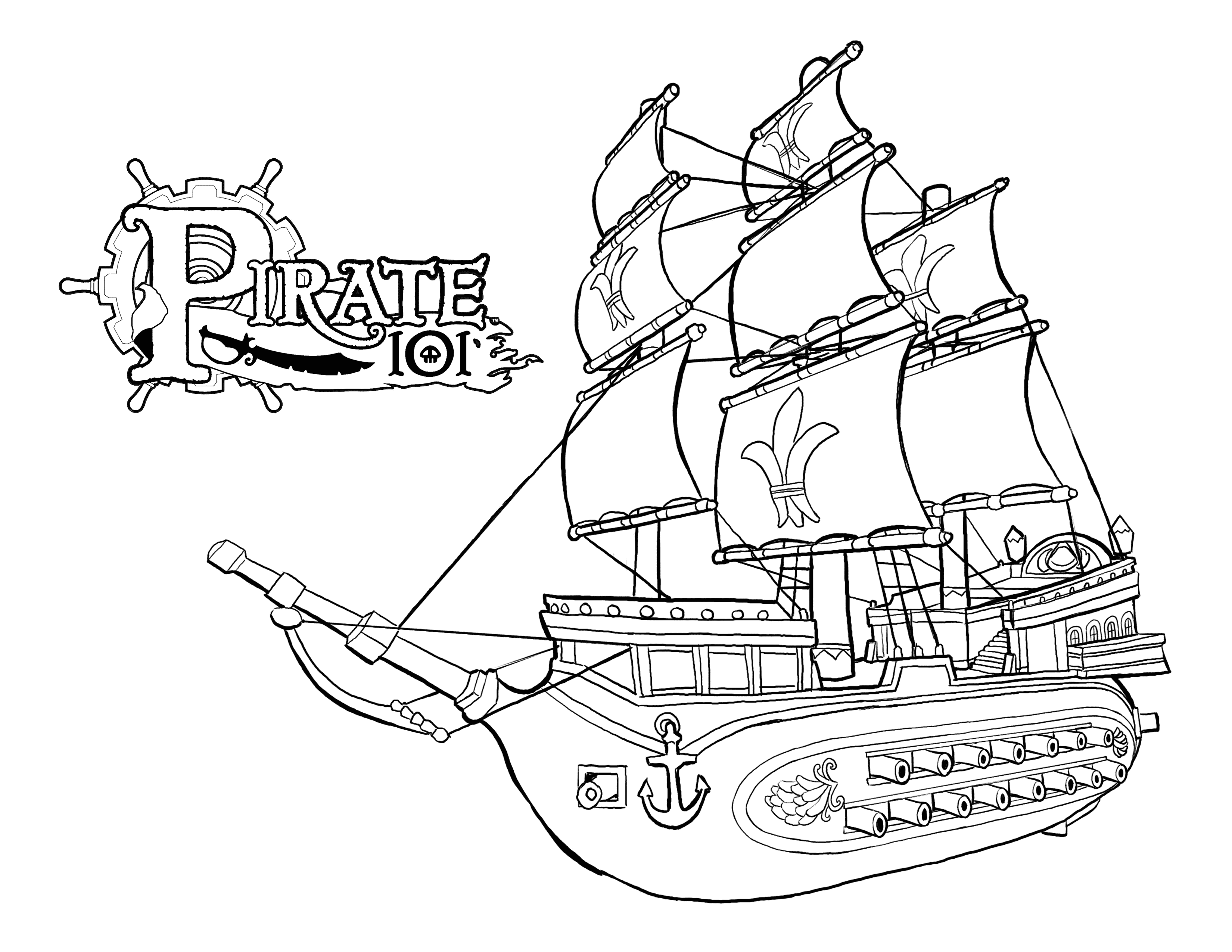 monquistan ship pirate coloring pages 355 - Pirate Coloring Pages