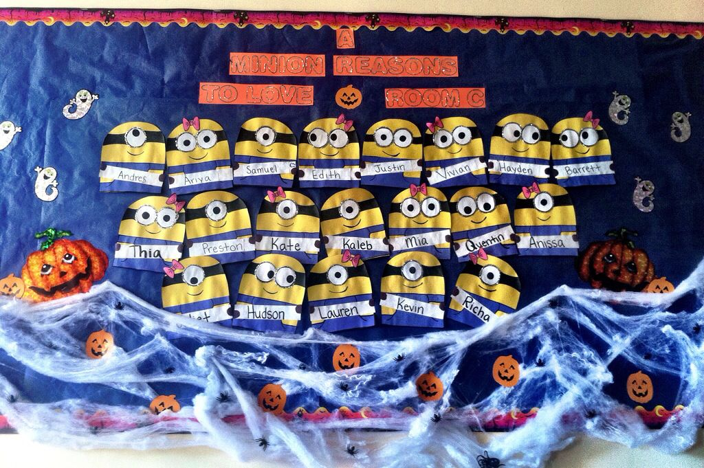 """#halloweenboard #minions #preschoolbulletinboard #halloween """"a minion reasons to love room C"""" I was proud of the way my board came out"""