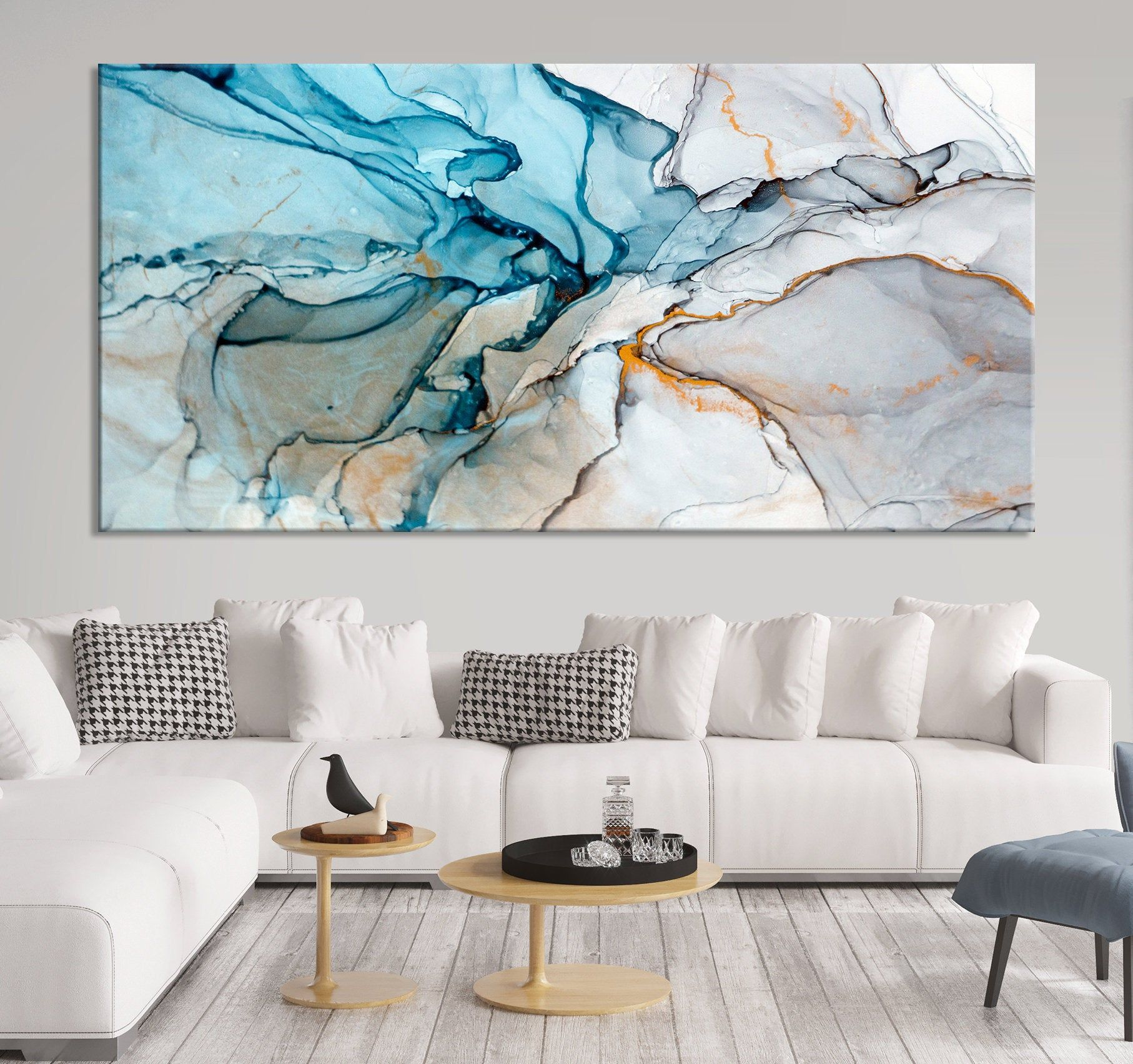 Wall Art Marble Canvas Print Large Marble Abstract Canvas Etsy In 2021 Wall Art Living Room Blue Abstract Wall Art Abstract Canvas Art