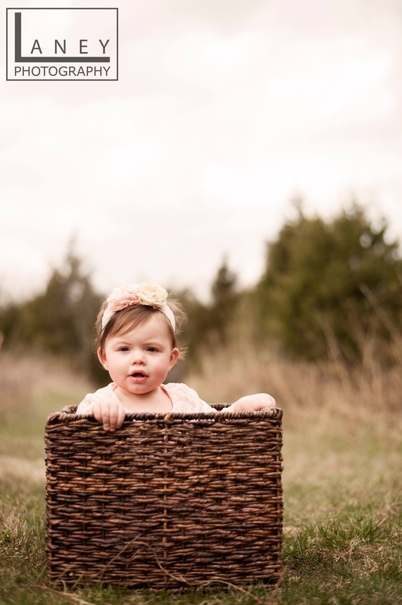 One year old photography session babies in baskets are always a good idea