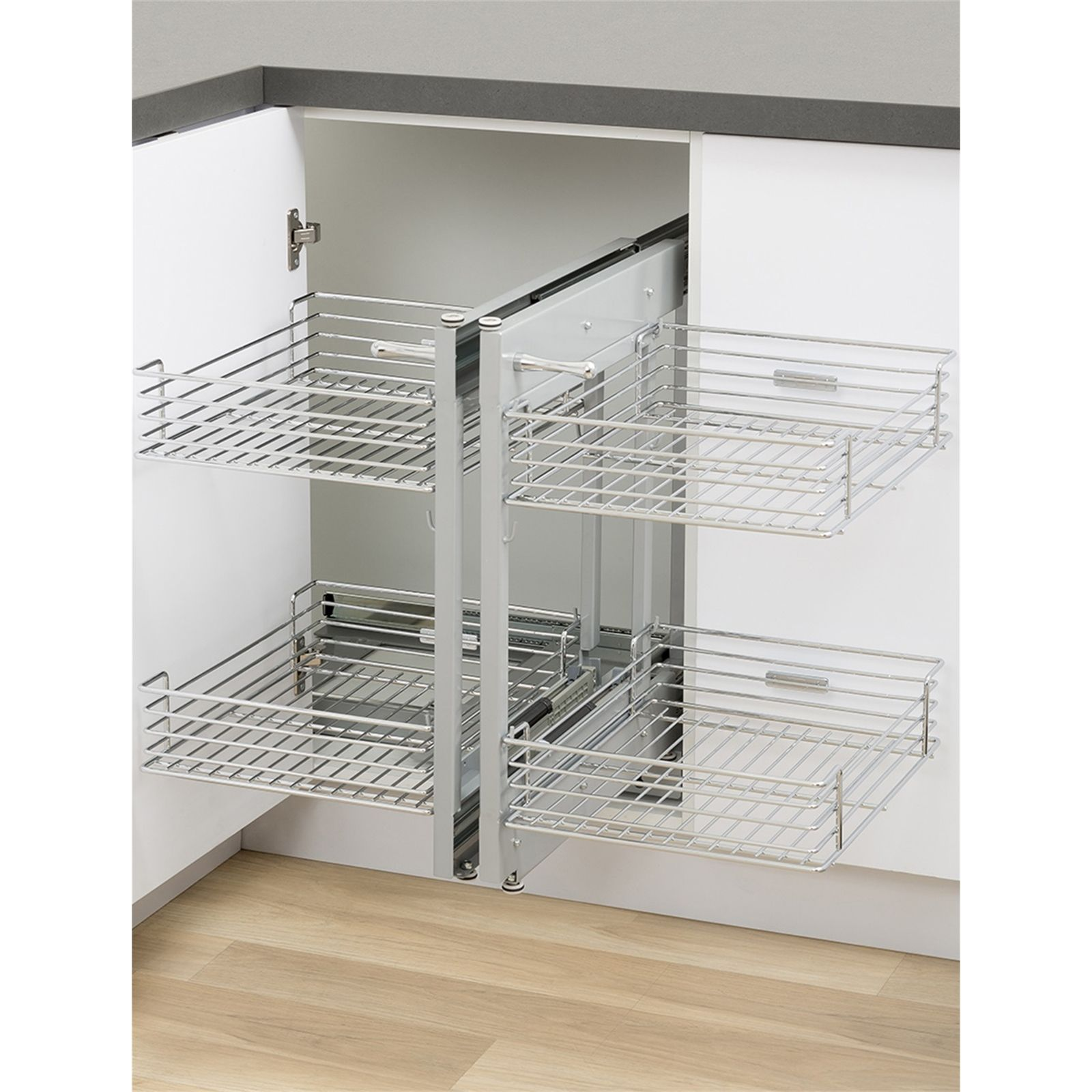 find kaboodle blind corner 2 tier soft close pull out baskets at find kaboodle 2 tier chrome blind corner soft close pull out baskets at bunnings warehouse visit your local store for the widest range of kitchen products