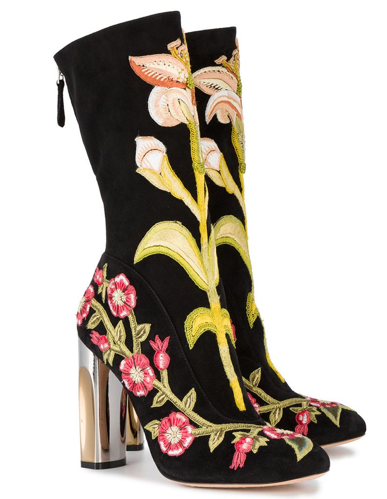ALEXANDER MCQUEEN Medieval Embroidered Boot with Bi-Color