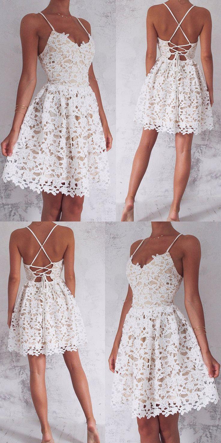 Hot Sale Sleeveless Homecoming Prom Dress Short Ivory Prom Dresses ...