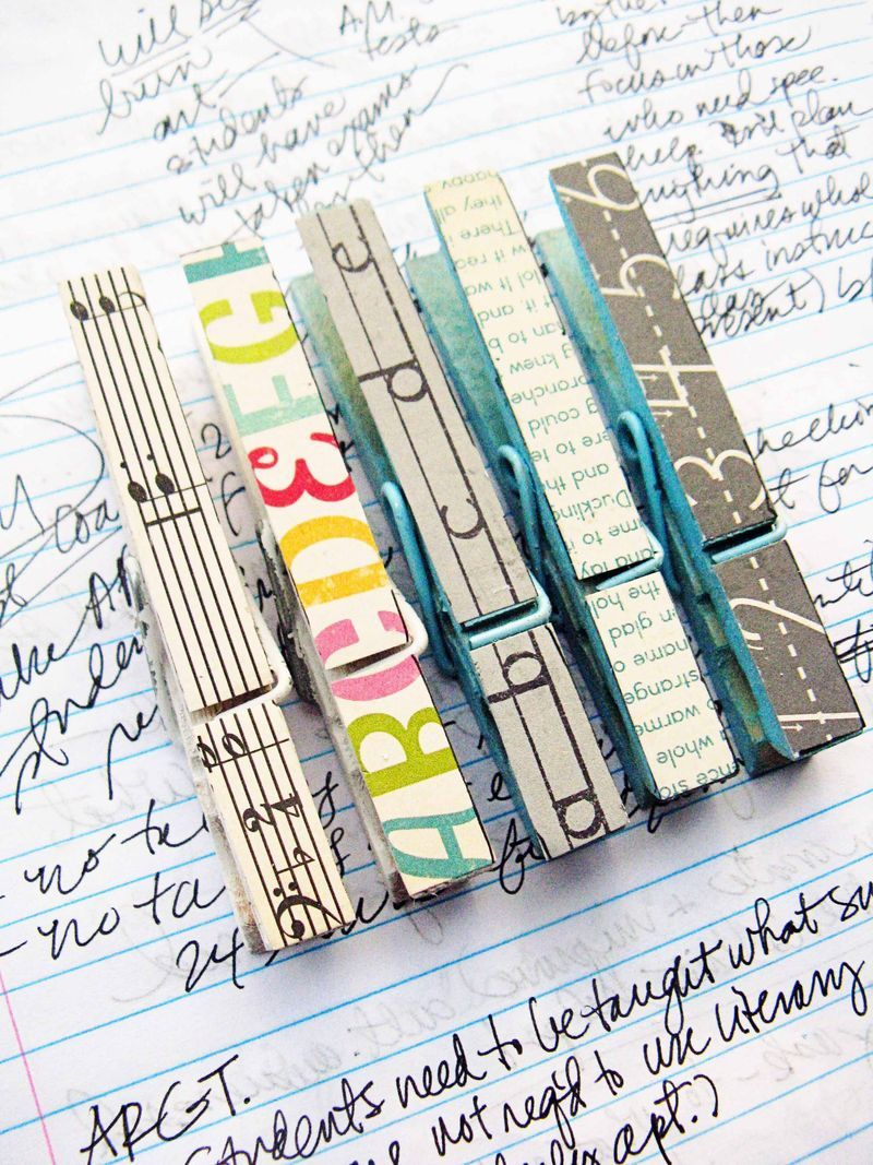 """paper covered clothespins- That is what I'm going to do with my tub of scrapbook paper """"Scraps."""""""