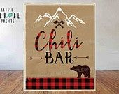 Chili bar sign LUMBERJACK Chili bar sign Lumberjack First Birthday Party - Lumberjack baby shower instant download Buffalo Plaid