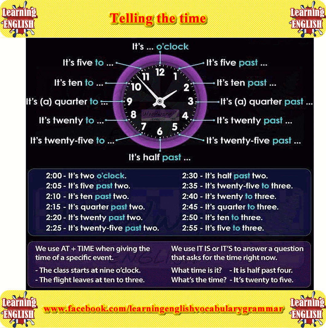 Telling The Time English Vocabulary Video