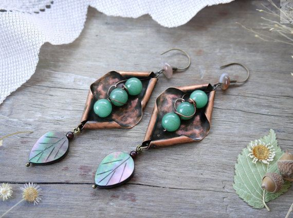 Earrings copper wire, natural stone nephrite, nacre, I Inhale Aroma of Spring Herbs art. 9026