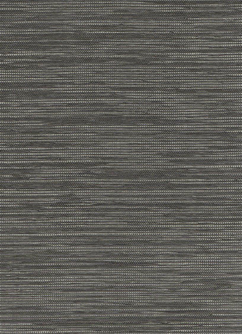 Woven Horizon Black and Grey Grasscloth Wallpaper R2868 ...