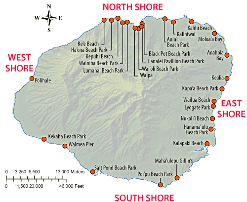 kauai surf spots map Pin On Hawai I kauai surf spots map