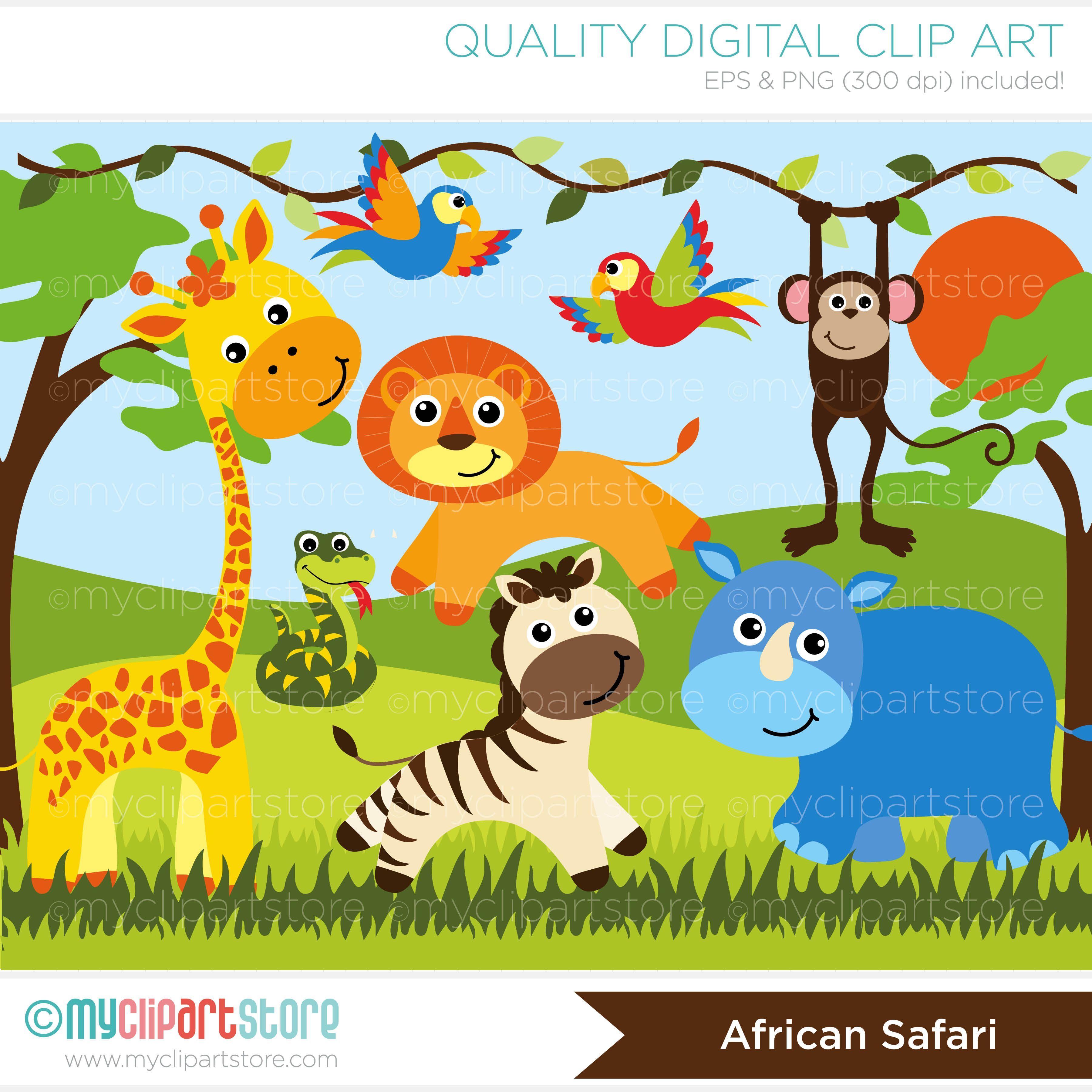 African Safari Animals Vector