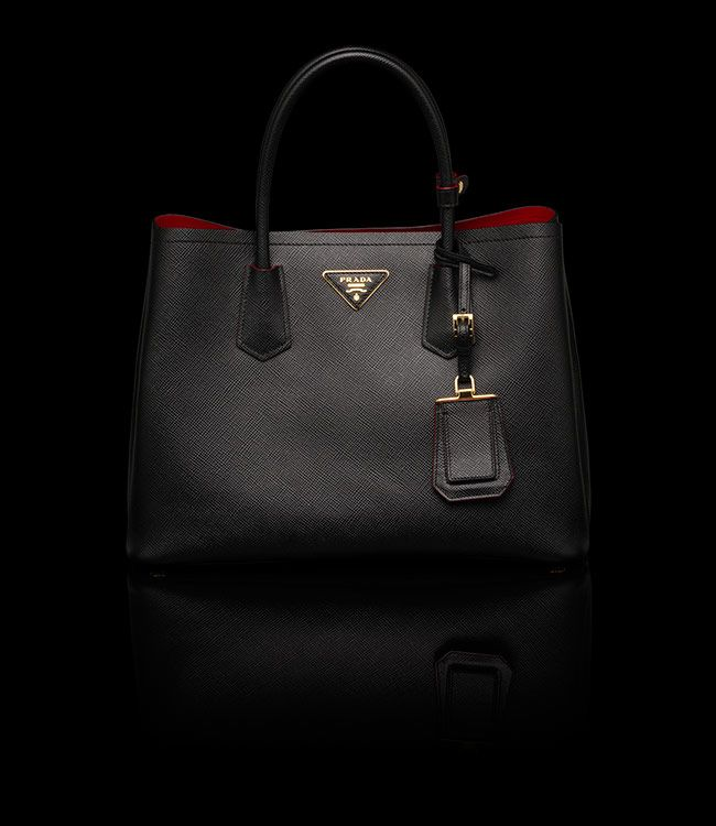 ... amazon black prada double tote with red interior 71f05 c7f84 ... 79fd0d365a