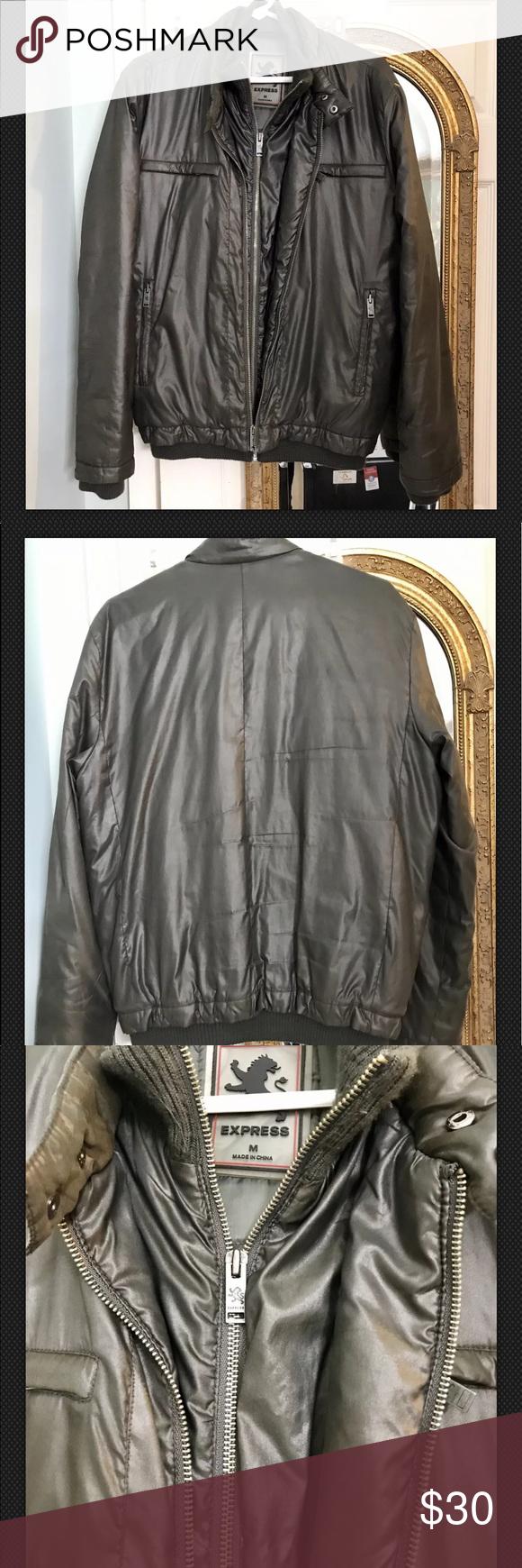 Mens Express Gray Bombers Jacket Size M Preowned Grey Bomber Jacket Bomber Jacket Jackets [ 1740 x 580 Pixel ]