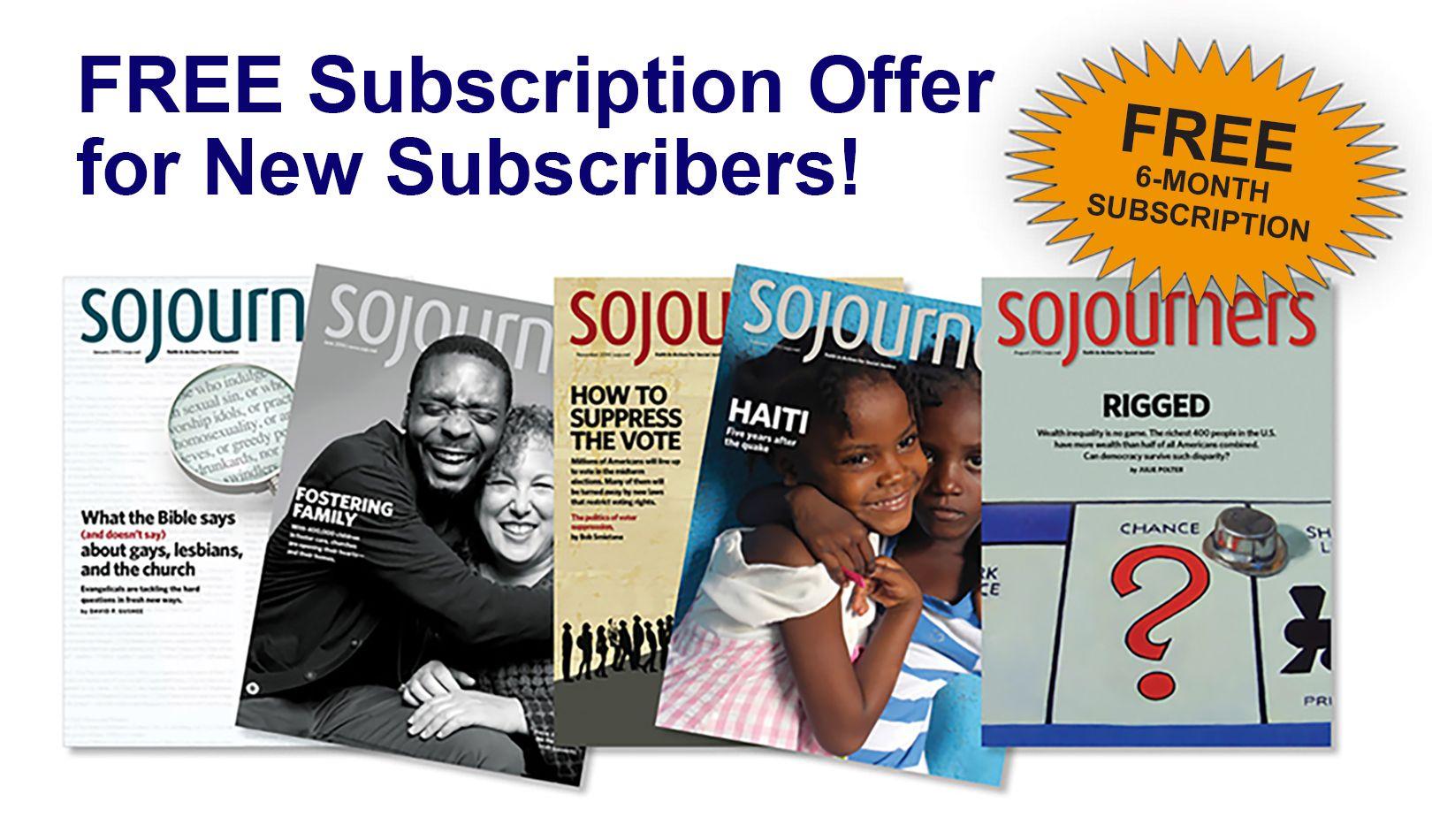 Sojourners Magazine | Sojourners, Free offer, Magazine