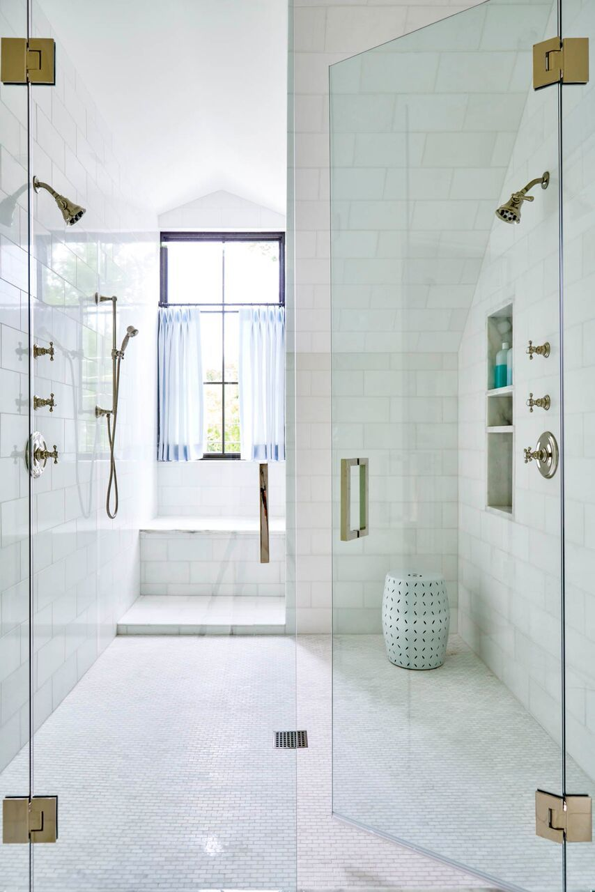 Now this is a shower! Duel shower heads with window bench - perfect ...