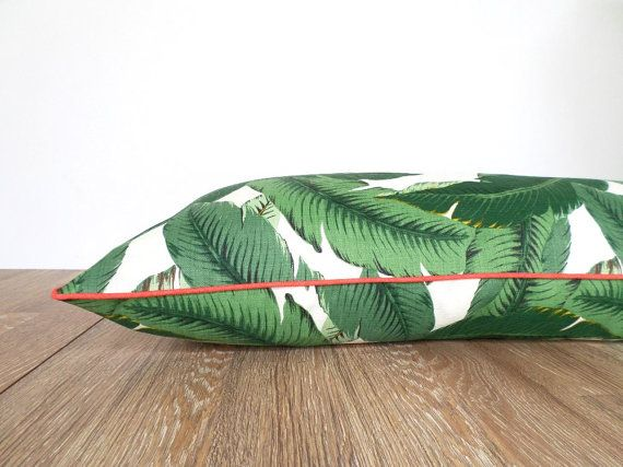 Large floor pillow cover palm print  green palm leaf