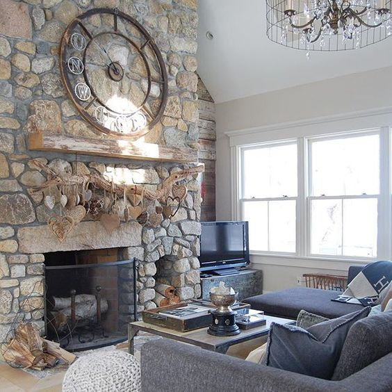 Schon Stone Fireplace Focal Wall   Love The Huge Clock Above The Rustic Wood  Mantel Kellyelko. Holz KaminsimseKamin UmrandungenKorkherzCorner ...