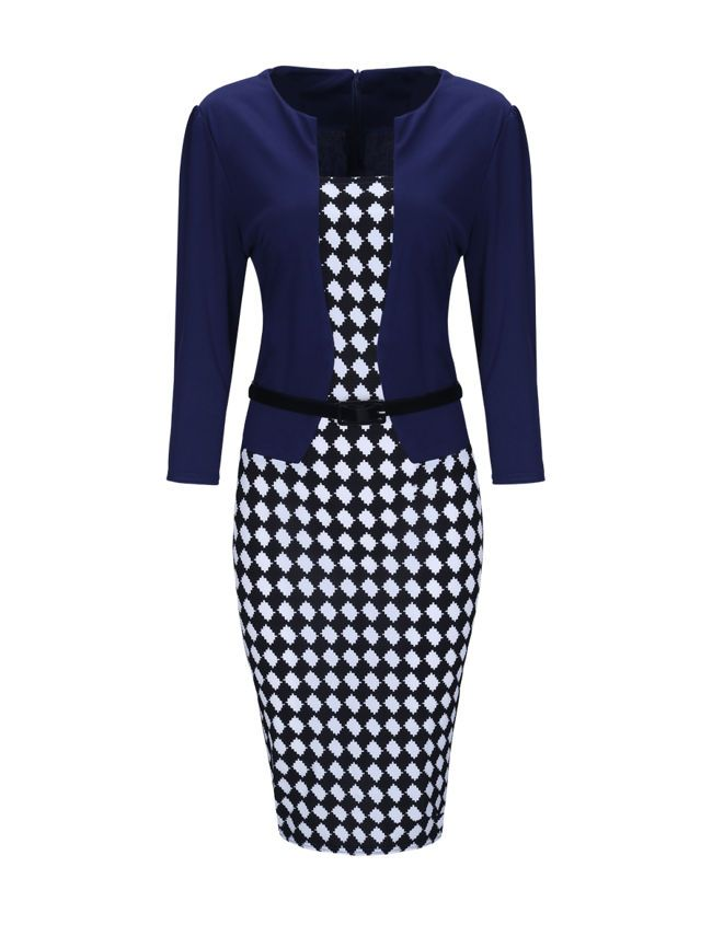 Plaid Fake Two-Piece Elegant Office Bodycon Dress