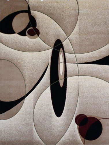 New City Brand Contemporary Brown And Beige Modern Wavy Circles Area Rug 5 2 X 7 3 Feraghan