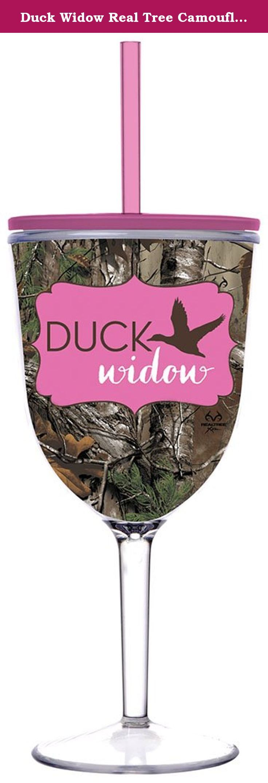 Duck widow real tree camouflage camo 13 oz insulated wine