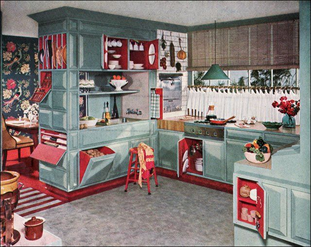 Armstrong kitchen 1953 - LOVE the contrasting cupboard interiors
