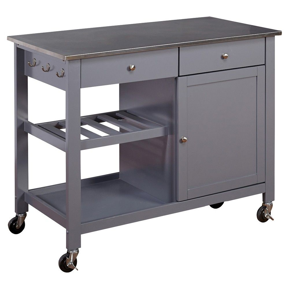 Columbus Kitchen Cart with Stainless Steel Top Gray - Tms
