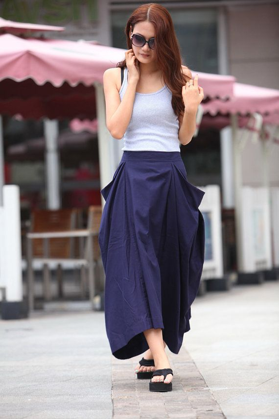 Lagenlook Maxi Skirt Big Pockets Big Sweep Long Skirt in Navy Blue ...
