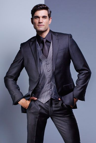 Charcoal, two button pure wool suit with notched ...