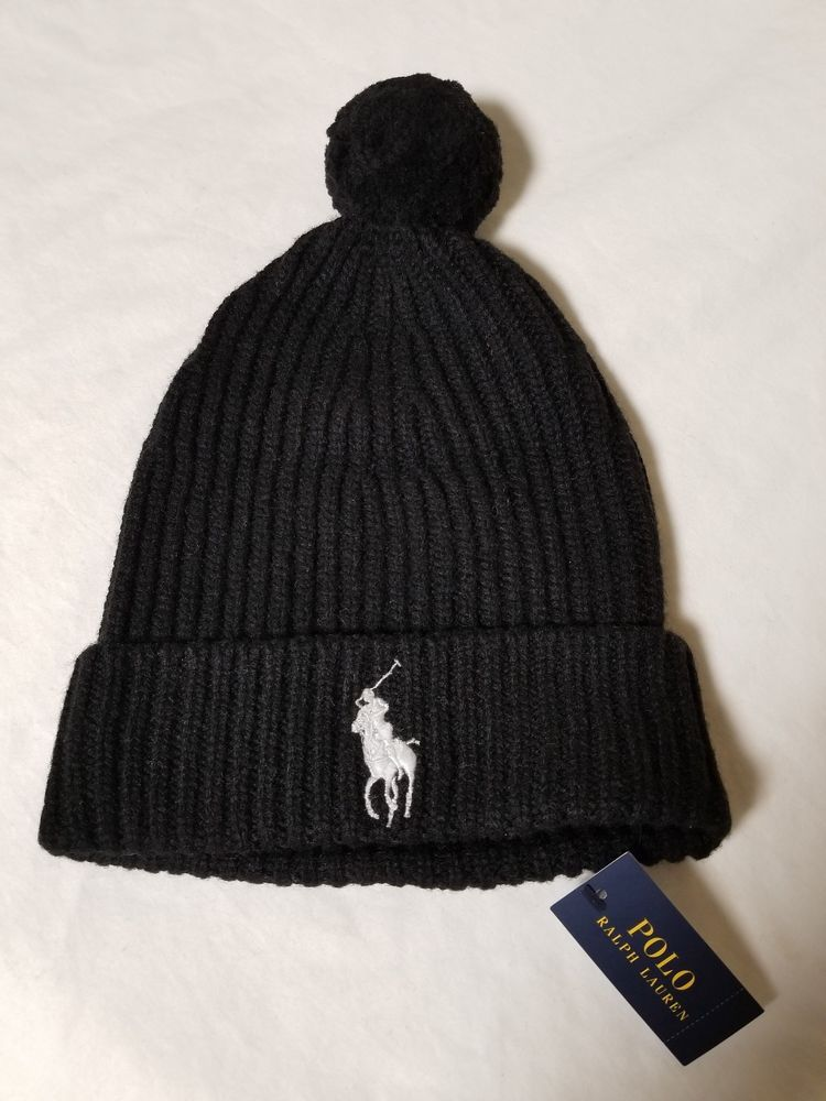 592ba1ba67f NWT Mens Polo Ralph Lauren Black Big Pony Wool Blend Pom Beanie Cap Hat   fashion  clothing  shoes  accessories  mensaccessories  hats (ebay link)