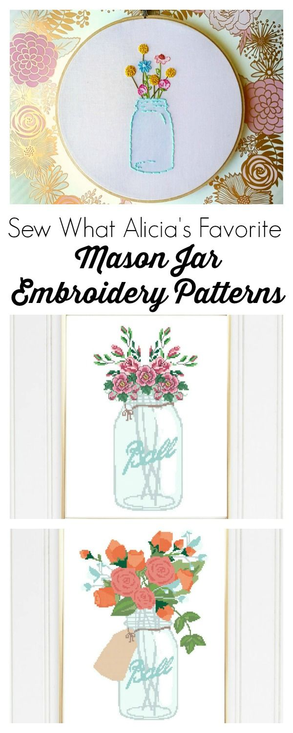 Mason Jar Embroidery Pattern Beginner Embroidery Kit Instant