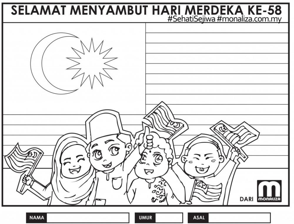 Pertandingan Mewarna Merdeka Monaliza Coloring Pages Coloring Sheets For Kids Drawing For Kids